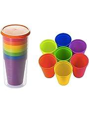 July Miracle 7 szt. plastikowych kubków wielokrotnego użytku do napojów, do układania w stos szklanek na napoje, imprezy, wesela – kolor tęczy, 7,05 oz