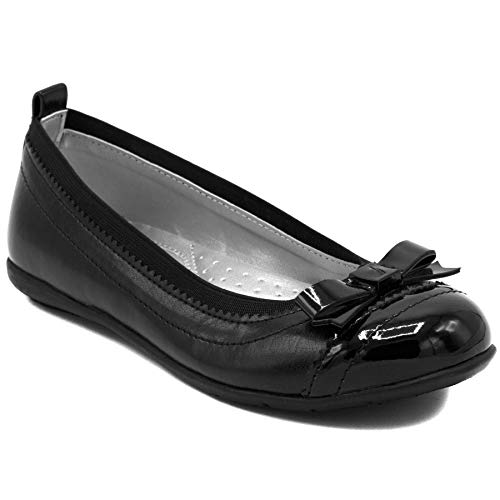 - Nautica Girls Front Bow Flat Mary Jane Oxford School Shoe-Lunette-Black-12