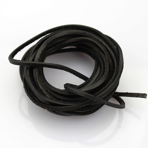 LolliBeads (TM) 3mm Flat Genuine Leather Cord Braiding String Black (5 - Cord Leather Real Jewelry