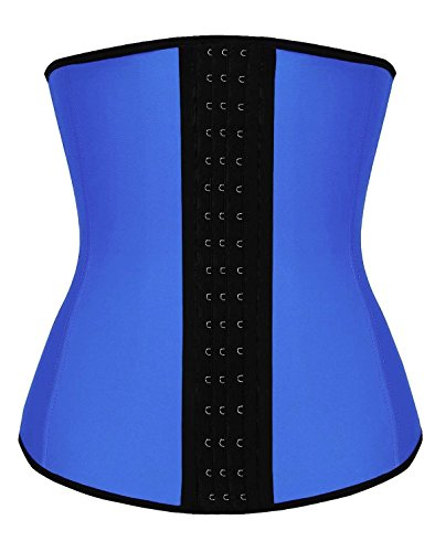SHAPERX Camellias Women 3 Hooks Latex Waist Trainer Corset for Weight Loss Cincher Shaper Slimmer Tummy Control Body Shapewear Blue, SZ1988-3-Blue-L