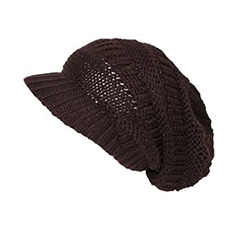 CTM Women's Throwback Chunky Knit Slouchy Beanie Hat, Brown