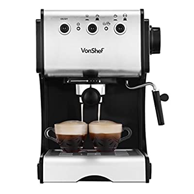 VonShef Premium Stainless Steel 1050W 15 Pump Espresso Coffee Maker Machine With Cup Warming Plate by Designer Habitat Ltd.