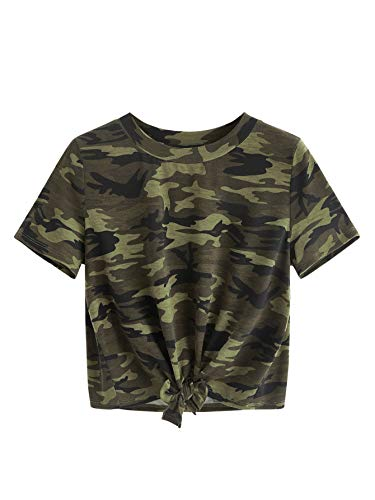 SweatyRocks Women's Loose Short Sleeve Summer Crop T-Shirt Tops Blouse (Small, Camo)