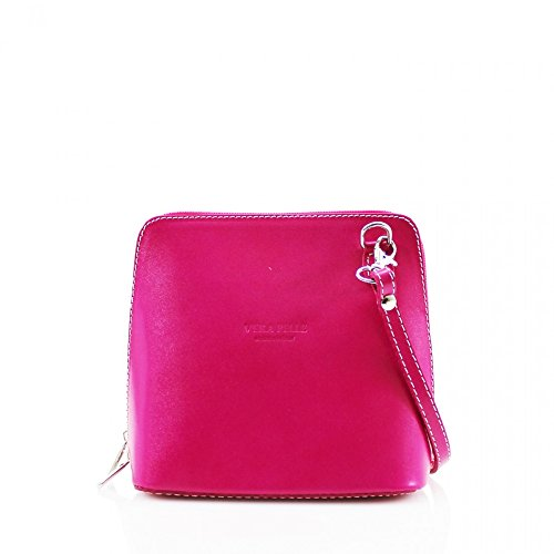 D8cm ITALY CROSS BAGS SMALL GENUINE x 011 W18cm x LeahWard LEATHER H16cm SHOULDER FUCHSIA BODY d6ttqAW