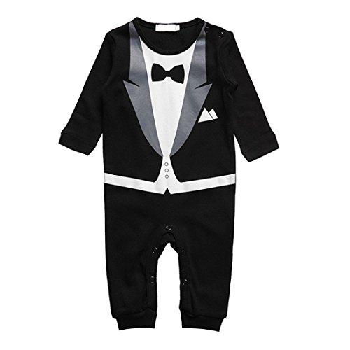 Baby Strampler Smoking für Jungen - Anzug mit Fliege (Größe 70, 3-6 Monate, schwarz)