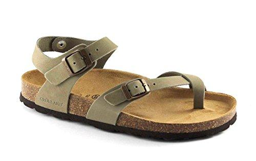 Grünland VOLUNTAD SB0917 kaky gray sandalias de mujer sandalias de cuero hebillas Birk Grigio