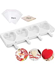 WELLHOME Silicone Popsicle Mold Cakesicle Molds Homemade DIY Heart Ice Cream Mold for Ice Pop Makers with 50 Wooden Sticks and 50 Popsicle Bags (Large)