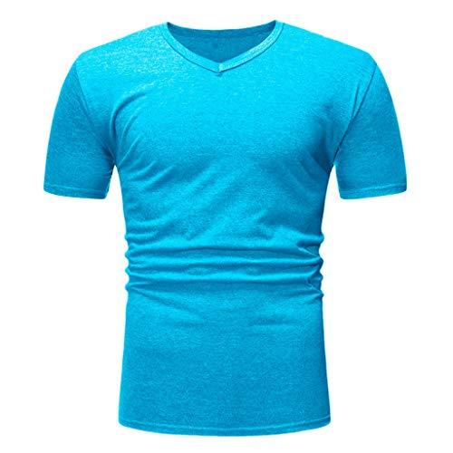 Solid Color V-Neck T-Shirts for Men Casual Slim Fit Sweatshirts Short Sleeve Compression Baselayer Sky Blue]()