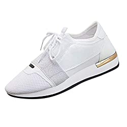 Jjliker Women Mesh Stitching Lace Up Sneakers Comfortable Breathable Running Lightweight Non Slip Shoes All Seasons White