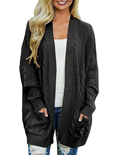 - Doballa Women's Open Front Chunky Cable Knit Twisted Cardigan Sweater Coat With Pocket (S, Charcoal)