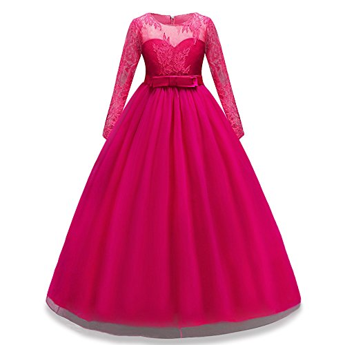 HUANQIUE Girls Lace Pageant Party Dress Wedding Flower Girl Maxi Gowns Long Sleeve HotPink 7-8 Years -