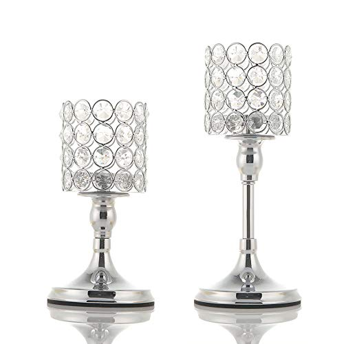 VINCIGANT Silver Cylinder Crystal Candle Holder Set of 2 for Wedding Table Centerpieces/Anniversary Celebration Modern Home Decor,8 and 10 Inches Tall