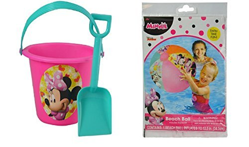 Disney Minnie Mouse Roadster Inflatable Beach Ball Plus Sand Bucket Set -