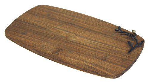 """Simply Bamboo Large (16.5"""" X 9.75"""") Kona Berries Artisan Crafted Carbonized Bamboo Cheese Board & Serving Tray"""