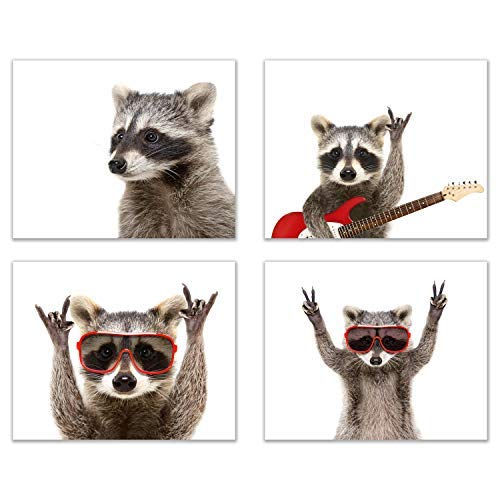 Rocker Raccoon Poster Prints - Set of 4 (8x10) Cute Funny Guitar Music Animal Wall Art Decor