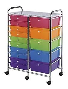Blue Hills Studio SC15MCDW Storage Cart 15-Drawer (Standard and Deep) Multi-Colored