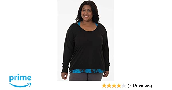 5acf0261cf2a78 Fruit of the Loom Women's Plus Size Active Ballet 2fer Top, Black/Dusky  Teal tie dye 3X at Amazon Women's Clothing store: