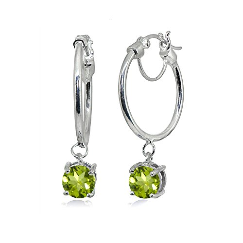 Sterling Silver Round Hoop Earrings with Dangling Peridot Gemstones