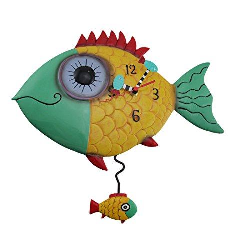 Allen Designs Wide Eyed Fishy Pendulum Wall Clock Fish