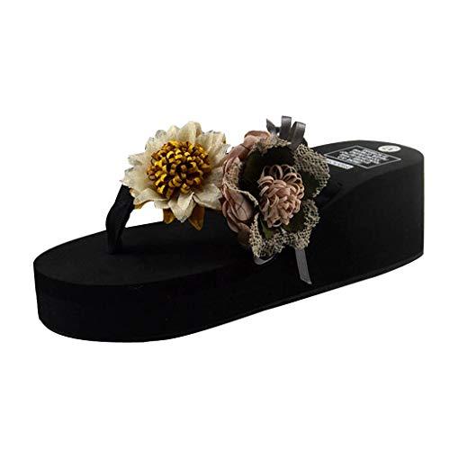 TnaIolral Women Bohemia Slippers Home Bathroom Beach Flip Flops Summer Shoes (US:6.5, White)