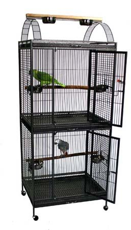 "Waimea Wingplex Double Decker Bird Cage - 30"" X 24"" X 74"" - Black Vein by BirdCages4Less"