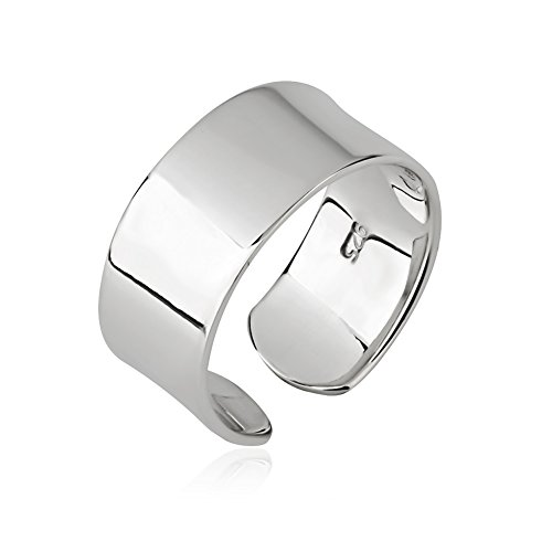 925 Sterling Silver Plain Wide Band Polished Wrap Around Knuckle Midi or Thumb Ring, 8mm Size 4 (Wide Polished Ring Band)
