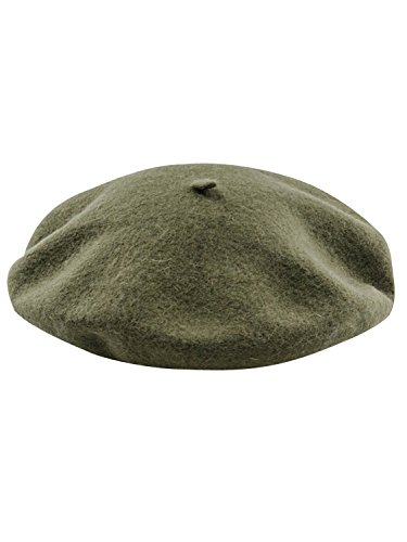 Clothink Wool Blend French Beret Hat Cap Unisex Army Green