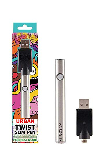 Twist Slim Premium Oil Pen 380mah Variable Voltage Battery Charger(Silver)