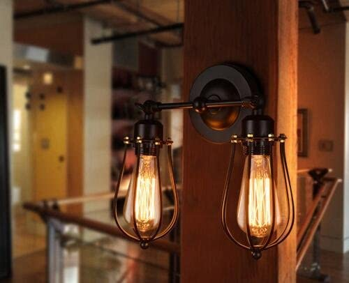 to Buy Industrial Edison Simplicity Light 180 degree Rotating Wall Lamp Aged Steel Finished