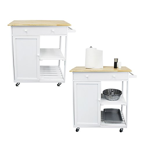 Houseables Kitchen Cart, Microwave Stand And Carts, White,