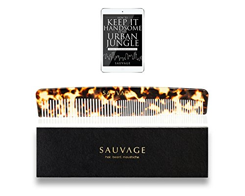 Price comparison product image Men's Hair Comb| Luxury Handmade Comb for Head Hair, Beard&Mustache in Premium GiftBox - Fine and Coarse Toothed Comb to use with Pomade, Oil&Beard Products by Sauvage