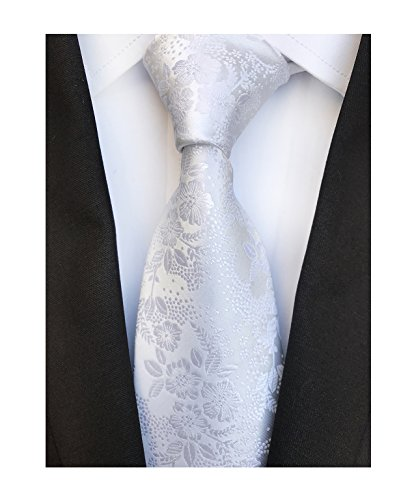 Flowers Printed Silk Tie - Men's Pure White Silk Cravat Woven Ties Textile Business Neckties for Wedding