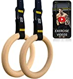 Double Circle Wood Gymnastic Rings, Numbered Straps and Exercise Videos Guide for Gym, CrossFit, and Bodyweight Training