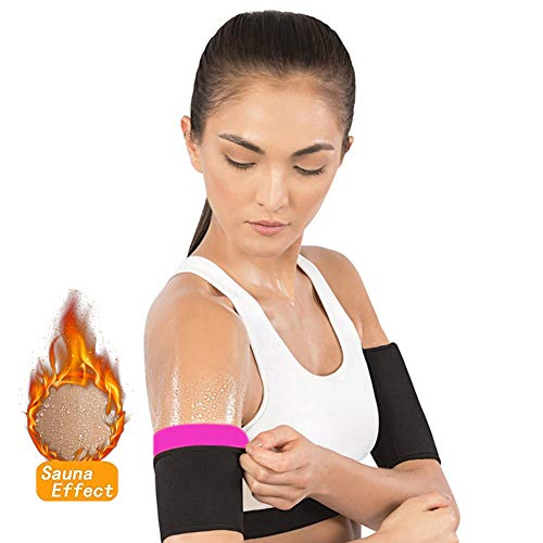 Mastere Arm Trimmers Pair Weight Loss Slimmer Wraps - Men & Women Sauna Neoprene Gym Exercise Compression Bands Workout Fat Burning Sudatory Black (XL) (Best Way To Lose Upper Arm Fat)