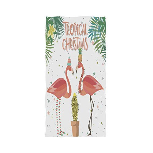 Floral Tropical Washcloth - Naanle Tropical Cactus Leaves Christmas Dressed Flamingo Soft Absorbent Large Hand Towels Multipurpose for Bathroom, Hotel, Gym and Spa (16