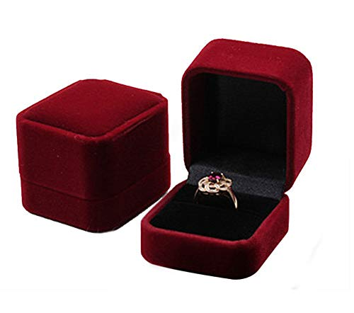 duoduodesign Classic Velvet Engagement Ring Box (Dark Red)