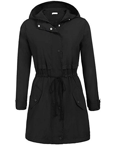 Elover Women's Packable Waterproof Rain Jacket Outdoor Raincoat With Zipper (Black, XXL) (Trench Zipper)