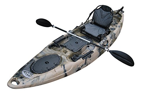 BKC UH-RA220 11.5 foot Riptide Angler Sit On Top Fishing Kayak with Paddles and Upright Chair and Rudder System Included (Camo)