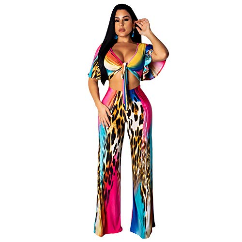 Womens Floral Two Piece Outfits Wide Leg Palazzo Pants Jumpsuit Set with Crop Top M Leopard Print