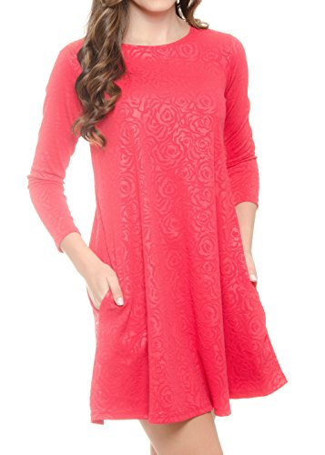 Long 064 Red Woman Colors MODADEL Pockets 44 Dress Floral with Casual for Sleeve dw0RqTPv0