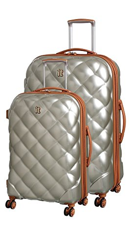 it luggage St. Tropez Deux 8 Wheel Single Expander ABS/PC 2 Piece Luggage Set: 24'' and 19'' (Dark Champagne/Almond Trim) by IT Luggage