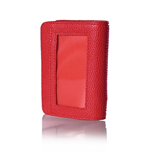 9764b0dee176a Lock Wallet RFID-Protected Leather Case for IDs and Credit Cards (Red)