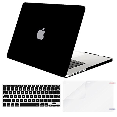 Mosiso Plastic Hard Case with Keyboard Cover with Screen Protector Only for MacBook Pro 13 Inch with Retina Display No CD-Rom (A1502/A1425, Version 2015/2014/2013/end 2012), Black