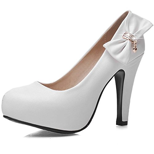 DecoStain Women's Spike High Heels Bow&Glitter Patent-Leather Pumps White