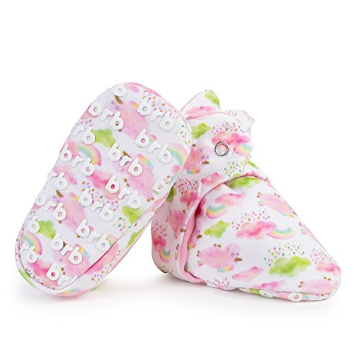 Lightweight Organic Cotton Baby Booties - Grippers, 3 Snaps - No Sock Bootie for Newborn or Infant Boys & Girls (Rainbow Magic, US 7)