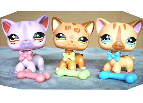 LPSLIKE LPS Shorthair Cat lot 1120 933 886 Kitty with Accessories Lot Collars Bones Collection Figure Boys Girls Kids Gift Set (Lot Cat)
