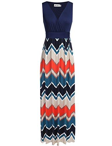 HOTOUCH Women Summer Casual Striped Sleeveless Maxi Beach Dresses Navy Blue L (Sleeveless Beach Dress)