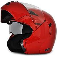 Vega Boolean BLN-R-L Flip-up Helmet with Double Visor (Red, L)