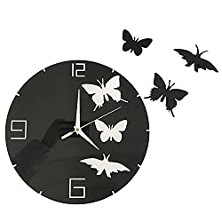 Happy Hours - Stylish Butterfly Mirror Wall Clock / Creative DIY Acrylic Home Decor Watch / 3D Frameless Wall Sticker Design Bell for Cafe Bedroom Living Room Dormitory(Black)