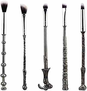 Wizard Wand Brushes,WeChip 5 PCS Potter Makeup Brush Set for Foundation Blending Blush Concealer Eyebrow Face Powder